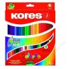KORES DUO kétvégű színes ceruza, háromszögletű, 24 db/doboz