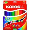 """KORES Színes ceruza készlet, kétvégű, háromszögletű, KORES """"Duo"""", 24 különböző szín (IK100624)"""
