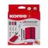 KORES Tábla- és flipchart marker készlet mágneses táblatörlő szivaccsal, 3-5 mm, vágott, KORES, 4 különböző szín [4 db]