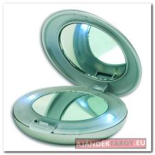 Kozmetikai tükör világítással, ezüst smink kiegészítő