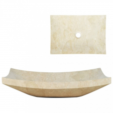 Krémszínű márvány mosdókagyló 50 x 35 x 12 cm hűtés, fűtés szerelvény
