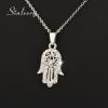 Kristályokkal kirakott Fatima keze medál nyaklánccal, ezüst