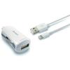 KSIX MFi autós töltő + USB Világító Kábel KSIX 2.4 A Fehér
