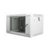 Lanberg 19'' fali rack szekrény 6U 600x450mm szürke (üvegajtó)