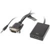 Lanberg AD-0021-BK VGA(F) + 3.5mm - HDMI(F) 20cm kábel