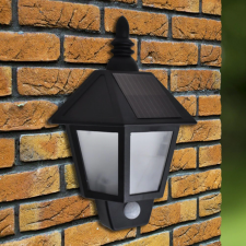 LED Mozgásérzékelős napelemes antik falilámpa 3,7 V kültéri világítás