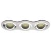 LEDvonal Beépíthető spot lámpatest , kerek , tripla keret , 3 x MR16 , 3 x GU10 , szálcsiszolt króm