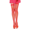 Leg Avenue FISHNET STOCKING W/ LACE TOP O/S RED