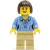 LEGO twn207 - LEGO Minifigura középkék felsőben, krémszínű lábakkal, sötétbarna hajjal