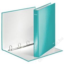 Leitz Gyűrűs könyv, 4 gyűrű, D alakú, 40 mm, A4 Maxi, karton, lakkfényű, LEITZ Wow, jégkék (E42420051) gyűrűskönyv