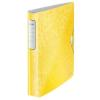 """Leitz Gyűrűs könyv, 4 gyűrű, D alakú, 52 mm, A4, PP, LEITZ """"Active Wow"""", sárga"""