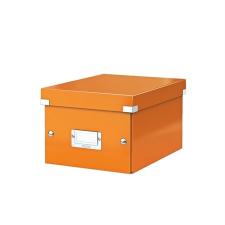 """Leitz Irattároló doboz, A5, lakkfényű,  """"Click&Store"""", narancssárga irattartó"""