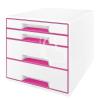 """Leitz Irattároló, műanyag, 4 fiókos, LEITZ """"Wow Cube"""", fehér/rózsaszín"""