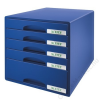 Leitz Irattároló, műanyag, 5 fiókos, LEITZ Plus, kék (E52110035)