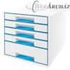 Leitz Irattároló, műanyag, 5 fiókos, LEITZ Wow Cube, fehér/kék