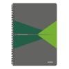 """Leitz Spirálfüzet, A4, kockás, 90 lap, PP borító, LEITZ """"Office"""", szürke-zöld"""
