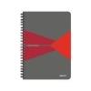 Leitz Spirálfüzet, A5, vonalas, 90 lap, PP borító, LEITZ Office, szürke-piros
