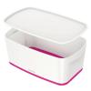 """Leitz Tároló doboz, fedővel, kicsi, LEITZ """"MyBox"""", fehér-rózsaszín"""