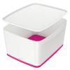 """Leitz Tároló doboz, fedővel, nagy, LEITZ """"MyBox"""", fehér-rózsaszín"""