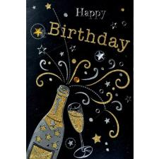 Leykam Alpina (BSB) BSB képeslap, Happy Birthday, fekete, pezsgős (állvány) képeslap