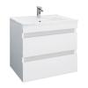 Leziter Cube 60 alsó fürdőszobabútor kerámia mosdóval 2 fiókos, magasfényű festett fehér