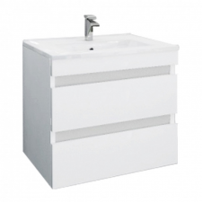 Leziter Cube 60 alsó fürdőszobabútor kerámia mosdóval 2 fiókos, magasfényű festett fehér bútor