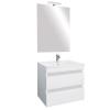 Leziter Cube Fürdőszobabútor 60 cm kerámia mosdóval (2 fiókos) ledes tükörrel 60x80 cm magasfényű festett fehér