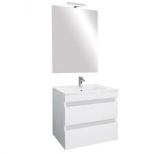 Leziter Cube Fürdőszobabútor 60 cm kerámia mosdóval (2 fiókos) ledes tükörrel 60x80 cm magasfényű festett fehér bútor