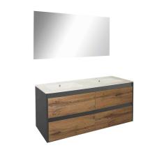 Leziter Porto Prime 120 komplett fürdőszoba bútor antracit-country tölgy színben bútor