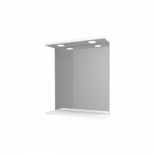 Leziter Toscano Új fürdőszoba tükör 55 cm LED megvilágítással, magasfényű festett fehér polcos bútor