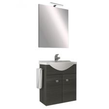 Leziter Zeus 55 Fürdőszobabútor kerámia mosdóval (2 ajtós) törölköző tartóval,Tükör ledes megvilágítással (Sötét tölgy) bútor