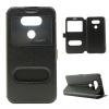 LG G5, Oldalra nyíló tok, stand, hívás mutatóval, selyem hatás, fekete