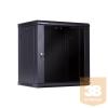 Linkbasic fali rack szekrény 19'' 15U 600x450mm, feket, üveg ajtó