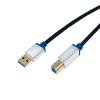 LogiLink - Premium USB 3.0 Connection Cable; USB A Male to USB B Male; 1.5m
