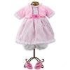 Loko Rózsaszín kockás lány babaruha és babacipő játékbabáknak