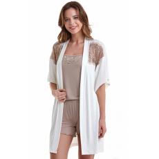 Luisa Moretti A női bambusz pizsama BELINDA és fürdőköpeny L Krém szín / Cream