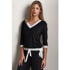 Luisa Moretti ROZALIE női pizsama bambuszból XL Fekete / Black