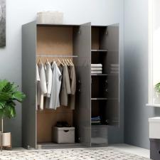 Magasfényű szürke forgácslap 3-ajtós ruhásszekrény 120x50x180cm bútor