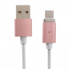 Mágneses töltő- és adatátvitelikábel, USB Type-C-s készülékekhez, USB aljzat, 120 cm, fehér/rózsaszín