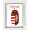 Magyar címer Hungary felírattal fehér alapon hűtőmágnes (műanyag keretes mágnes)