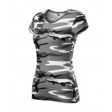Malfini Camouflage dámske maskáčové tričko, grey, 150g/m2
