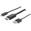 MANHATTAN MHL Cable / Adapter Micro-USB 5-pin to HDMI  connects smartphone to TV