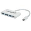 MANHATTAN USB-C elosztó-HUB, 3xUSB 3.2, 1xUSB-C (PD), MANHATTAN, fehér