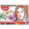 """MAPED Akvarell ceruza készlet, ecsettel, fém doboz, MAPED """"Artists"""", 48 különböző szín"""