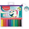 """MAPED Filctoll készlet, 1,5 mm, kimosható, fehértáblához, MAPED """"Marker'Peps, 12 különböző szín"""