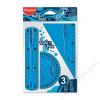 MAPED Vonalzókészlet, műanyag, törhetetlen, 3 darabos, MAPED Twist`n Flex (IMA895024)
