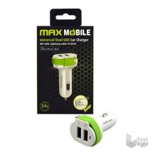 MAX MOBILE 3.4A univerzális 2xUSB fehér-zöld autós töltő MFI Apple kábellel audió/videó kellék, kábel és adapter