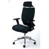 MAYAH Főnöki szék, fejtámasszal, fekete szövetborítás, feszített szövet háttámla, fekete lábkereszt, MAYAH Crown (BBSZVV36)