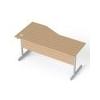 MAYAH Íróasztal, íves, jobbos, szürke fémlábbal, 160x80 cm, MAYAH Freedom SV-29, kõris