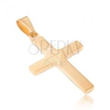 Medál sebészeti acélból arany színben, matt klasszikus kereszt, fényes nyíl medál